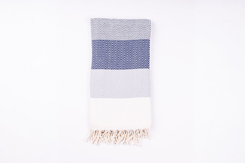 Alinda Navy Herringbone Peshtemal Throw - Small Cotton Blanket