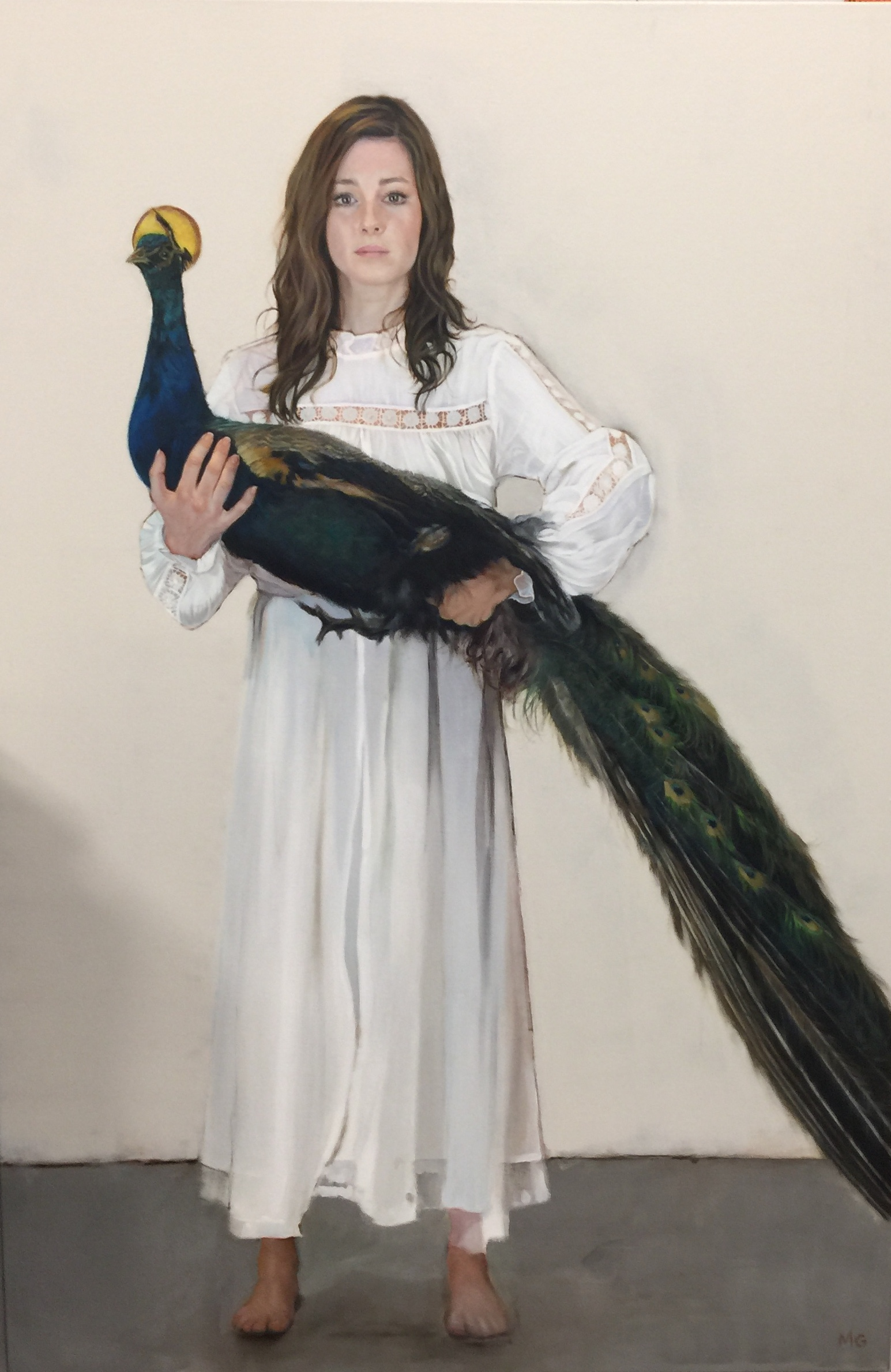 Girl with a peacock