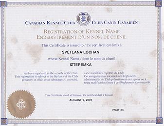 CKC Registration of Iz Teremka BRT Kennel