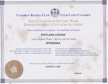 CKC Registration of Iz Teremka BRT Kennel