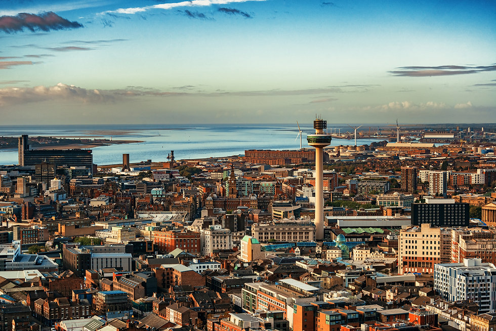 Liverpool skyline rooftop view with buil