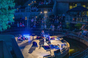 The Southern Plains Productions cast performs Small Mouth Sounds at the Myriad Gardens Water Stage in Downtown Oklahoma City on May 21, 2021.