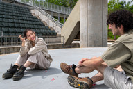 Gianna Hoffman and Arman Hakimattar rehearse for Small Mouth Sounds, produced by Southern Plains Productions, at the Myriad Gardens in Downtown Oklahoma City on May 17, 2021.