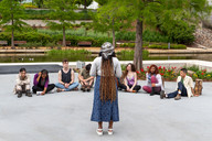 The Southern Plains Productions cast rehearses Small Mouth Sounds at the Myriad Gardens in Downtown Oklahoma City on May 17, 2021.