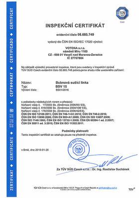 Сертификат на сушильную линию