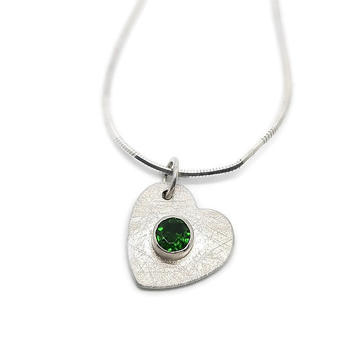 Sterling Silver Drunken Heart Chrome Diopside Pendant and Chain