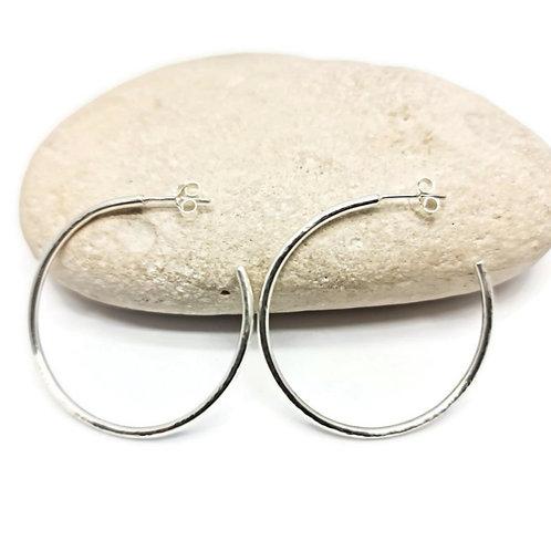 Sterling Silver Large Hoop Earrings Simplicity Series