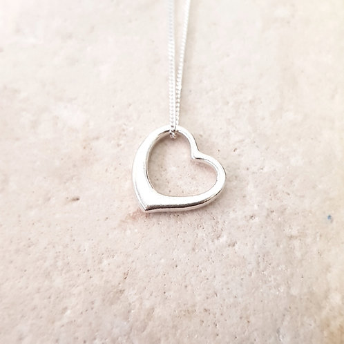 Sterling Silver Open Heart Necklace Teeny Weeny Series