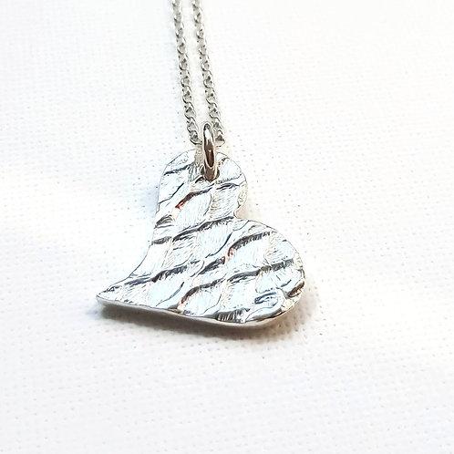 Sterling Silver Drunken Heart Reversible Necklace Simplicity Series