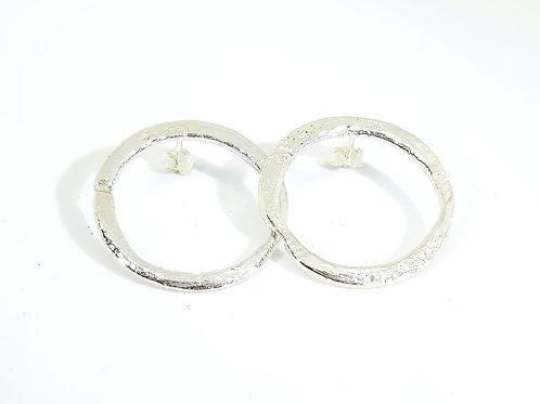 Sterling Silver Hoop Earrings reticulation Series
