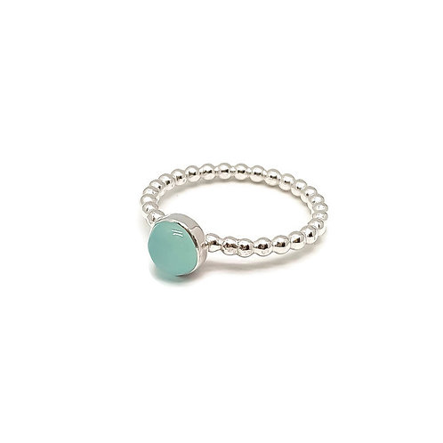Sterling Silver Blue Chalcedony Gemstone Stacker Ring Candy Girls Series