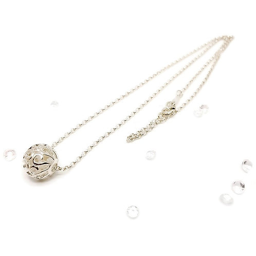 Sterling Silver Filigree Ball Necklace