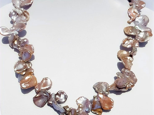 Sterling Silver Metallic Pink Freshwater Cultured Pearl Necklace