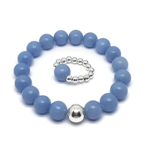 Angelite and Sterling Silver Stretchy Bracelet and Ring Set