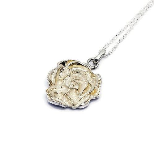 Abstract Rose Solitaire Pendant and Chain