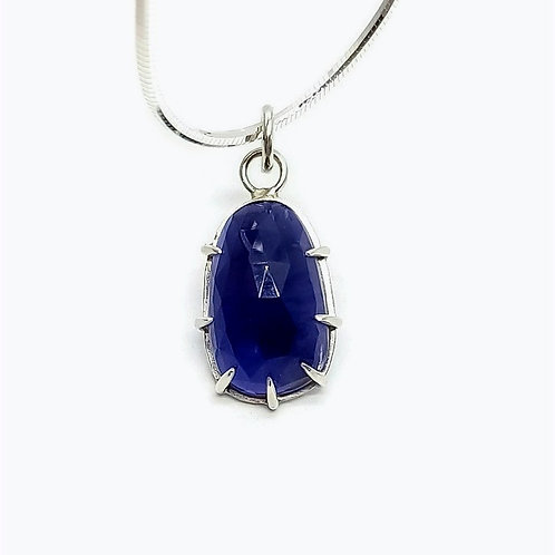 Sterling Silver Solitaire Rose cut Iolite Pendant and Chain