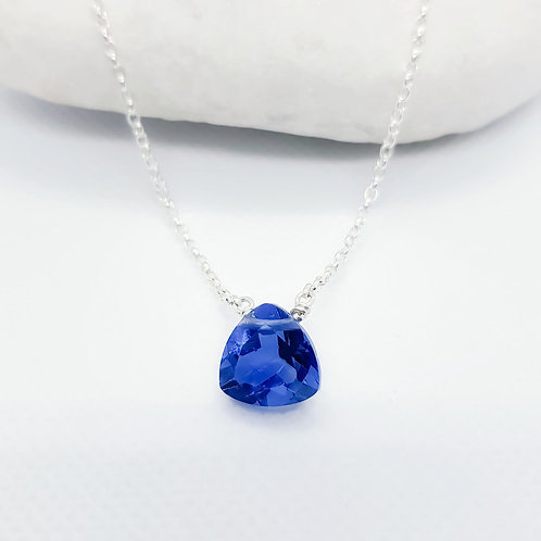 Sterling Silver Blue Fluorite Necklace - Naked Gemstone Series