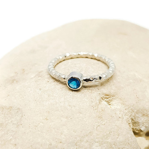 Sterling Silver Neon Apatite  Solitaire Ring