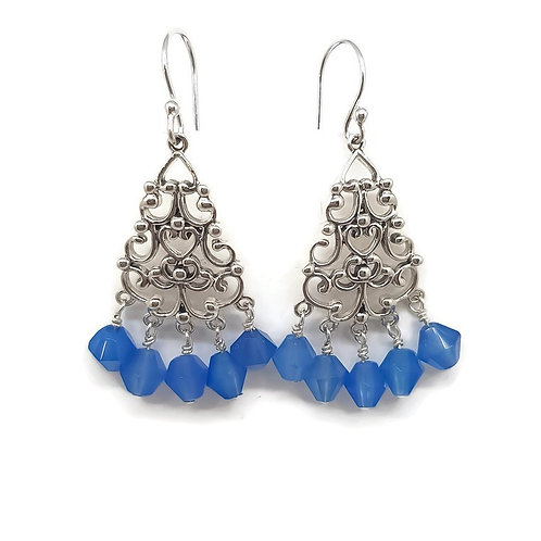 Sterling Silver Filigree Blue Chalcedony Drop Earrings