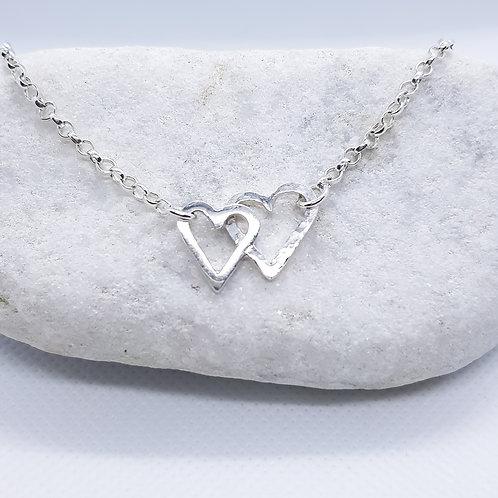 Sterling Silver Interlocking Heart Bracelet
