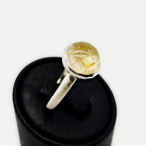 Sterling Silver Golden Rutile quartz Solitaire Ring