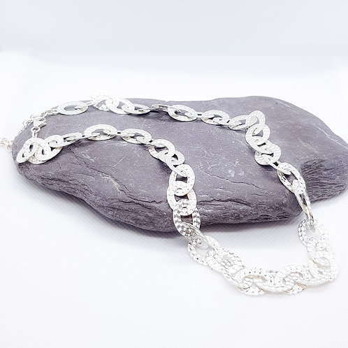 Sterling Silver Textured Statement Link Necklace