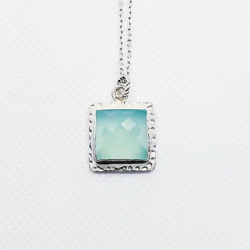 Sterling Silver  Aqua Chalcedony Pendant and Chain