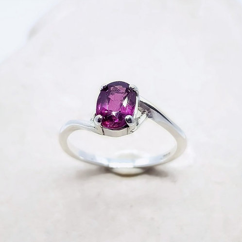 Sterling Silver Rubelite Solitare Ring
