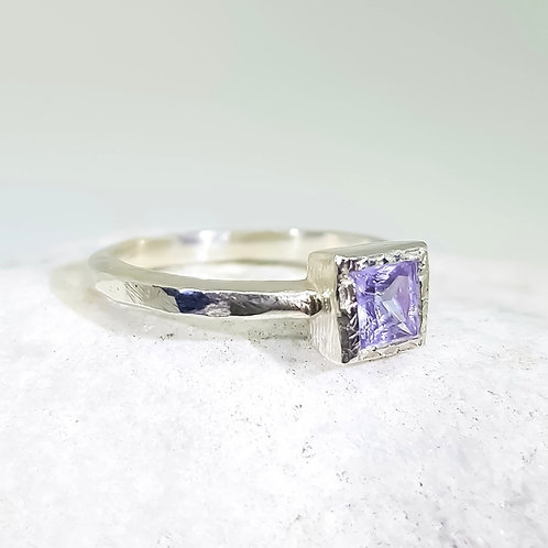Sterling Silver Lavender Cubic Zirconia Solitaire Ring