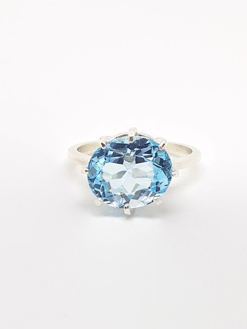 Statement Sky Blue Topaz Solitaire Ring