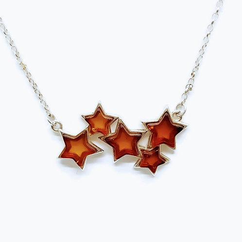 Sterling Silver Baltic Amber Stars Necklace