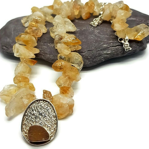 Sterling Silver Statement Citrine Necklace