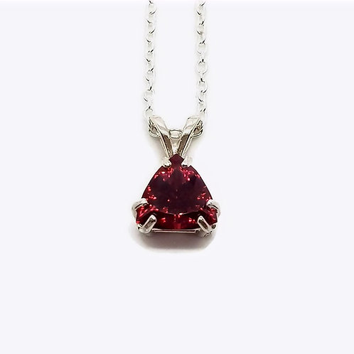 Sterling Silver African Red Garnet Pendant and Chain