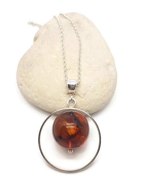 Sterling Silver Baltic Amber Globe Pendant and Chain