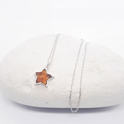 Sterling Silver Baltic Amber Star Necklace