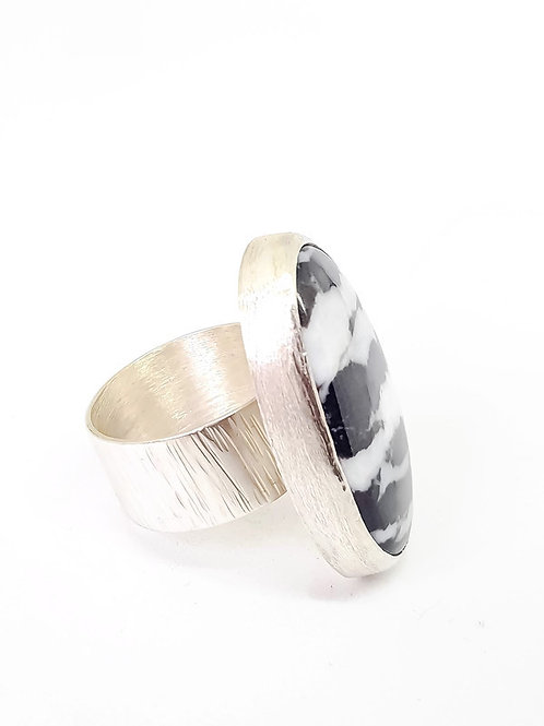 Statement Ring Sterling Silver Zebra Jasper Gemstone