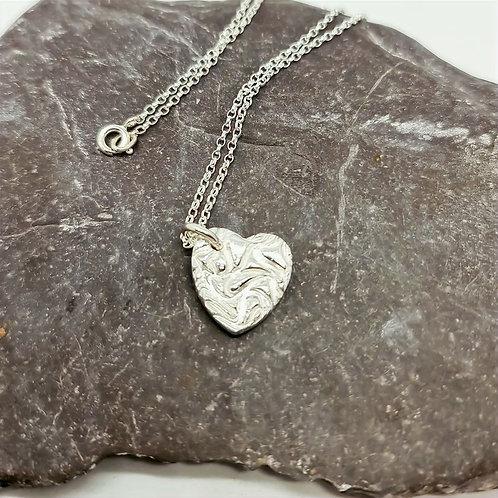 Sterling Silver Drunken Heart Pendant and Chain