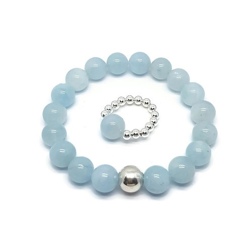 Milky Aquamarine and Sterling Silver Bracelet and Ring Set