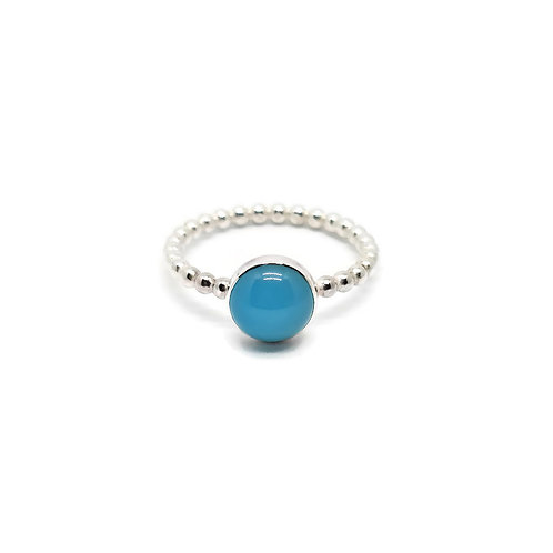 Candy Girl Sterling Silver Blue Chalcedony Stacker Ring