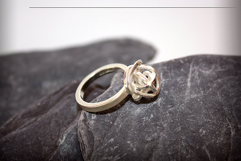 Sterling Silver Statement Knot Narrow Band Ring Scribbler Series