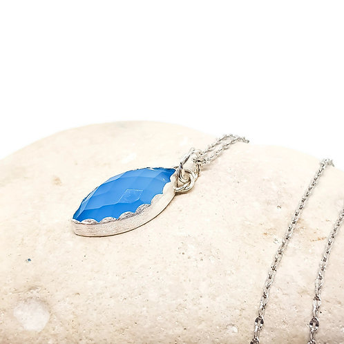 Blue Chalcedony Chequer Cut Necklace