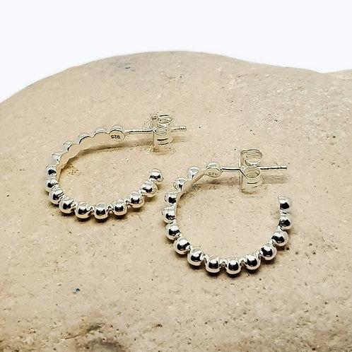 Sterling Silver Beaded Hoop Earrings Simplicity Series