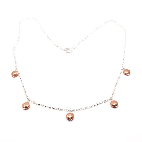 Sterling Silver Station Necklace with Sterling Silver Rose Gold Plated Beads