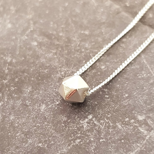 Sterling Silver Geometric Ball Necklace Teeny Weeny Series