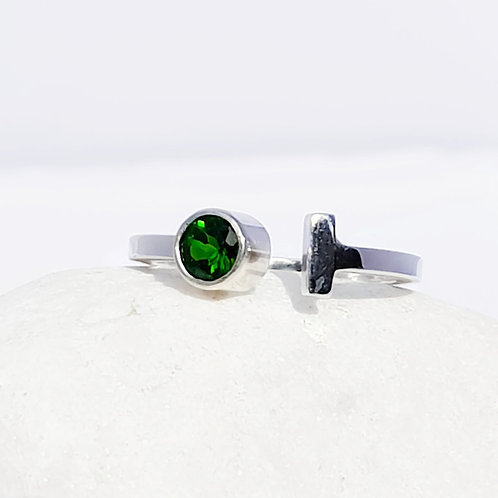 Sterling Silver Chrome Diopside Solitaire Ring The Geo Series
