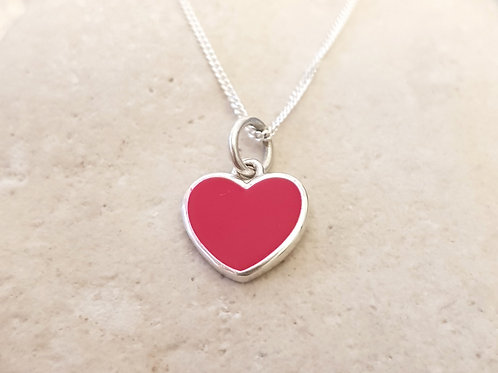 Teeny Weeny Red Enamel Heart Sterling Silver Necklace