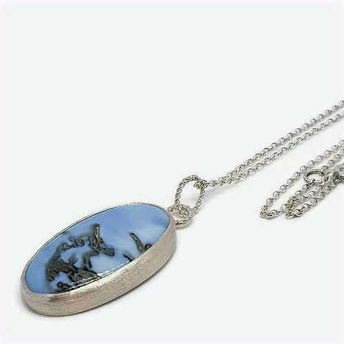 Sterling Silver Moss Angelite Pendant and Chain