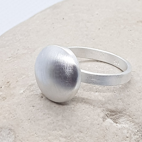 Sterling Silver Contemporary Satin  Finish Round Ring