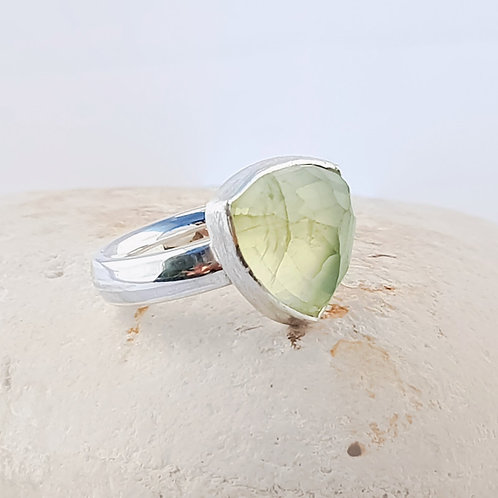 Faceted Prenite Trillion Cut Gemstone Ring