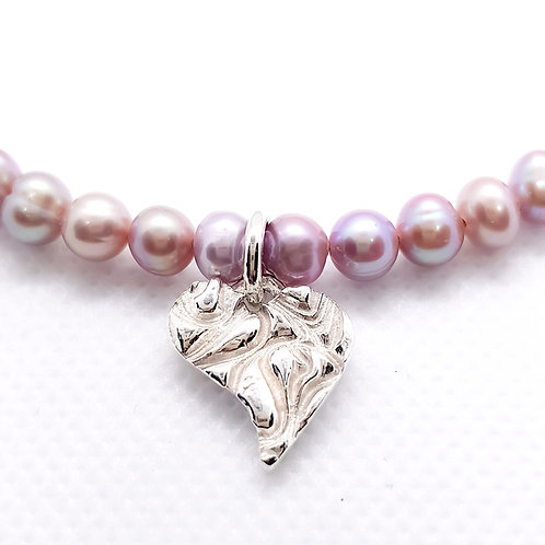 Sterling Silver Freshwater Cultured Lilac Pearl Heart Charm Necklace